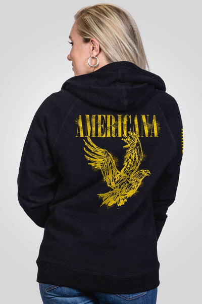 Women's V-Neck Hoodie - Smells Like Americana Spirit