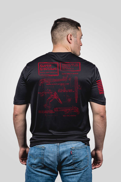 Men's Moisture Wicking T-Shirt - Super Shotgun Schematic