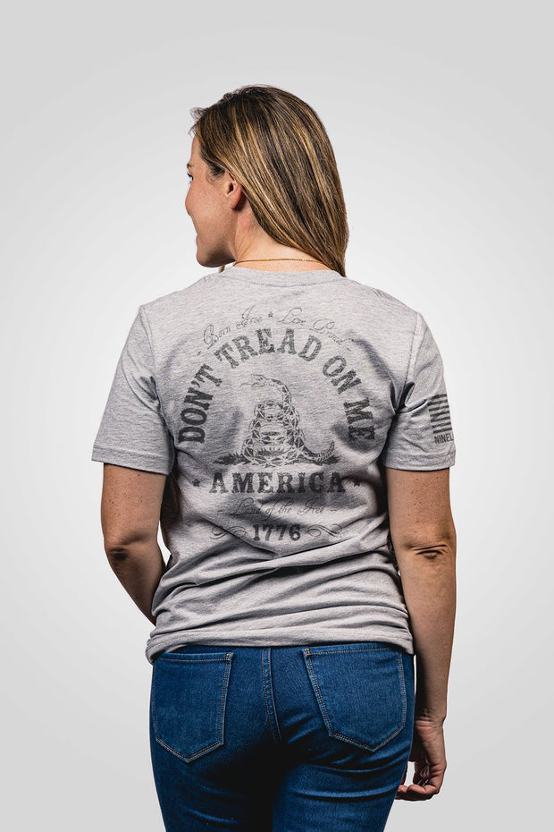 Heather grey don't tread on me women's shirt from rear view