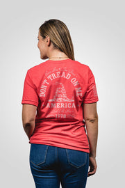 Heather seasonal red don't tread on me women's shirt from rear view