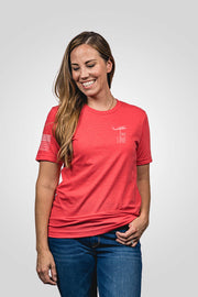 Heathered red don't tread on me women's shirt from front view
