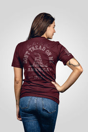 Oxblood red don't tread on me women's shirt from rear view