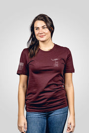 Oxblood red don't tread on me women's shirt from rear front