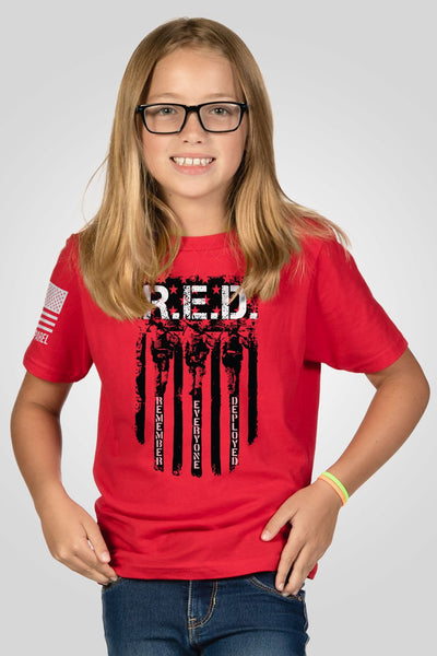 Youth T-Shirt - RED Remember Everyone Deployed