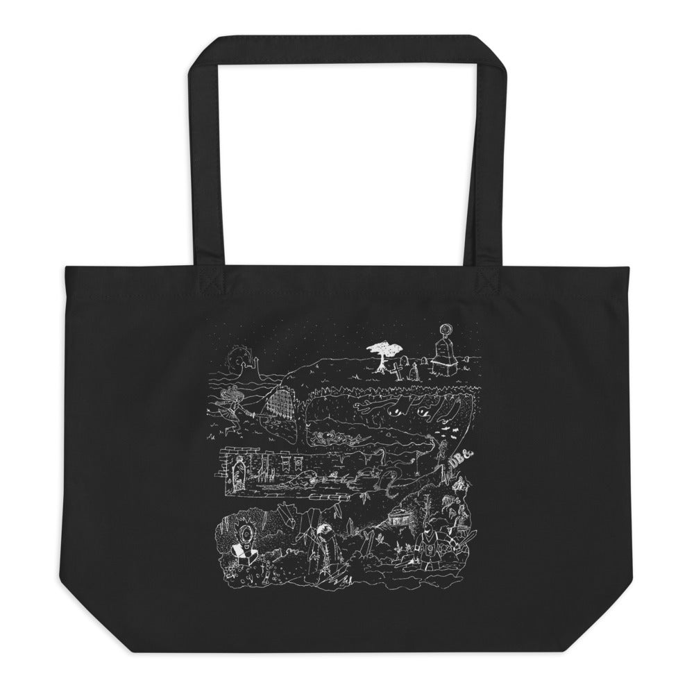 DUNGEONS & DEATHBOMBS large organic tote bag