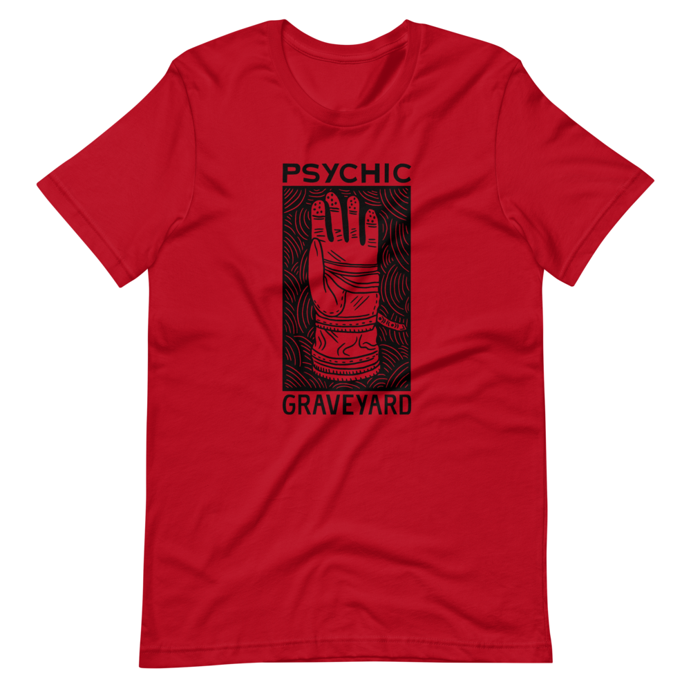 PSYCHIC GRAVEYARD black on red tee