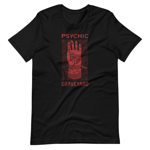 PSYCHIC GRAVEYARD red on black tee