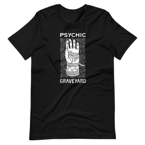 PSYCHIC GRAVEYARD white on black tee