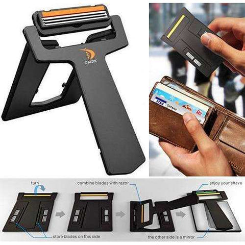 Image of CarZor™ Credit Card-Sized Razor with Mirror