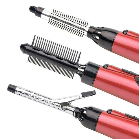 Image of Curl-N-Straight™  7-In-1 Interchangeable Hair Curler And Straightener
