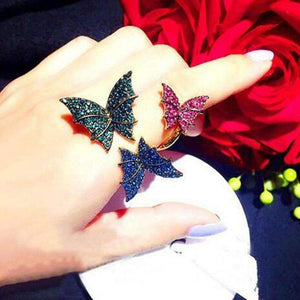 Resting Crystal Butterfly Ring