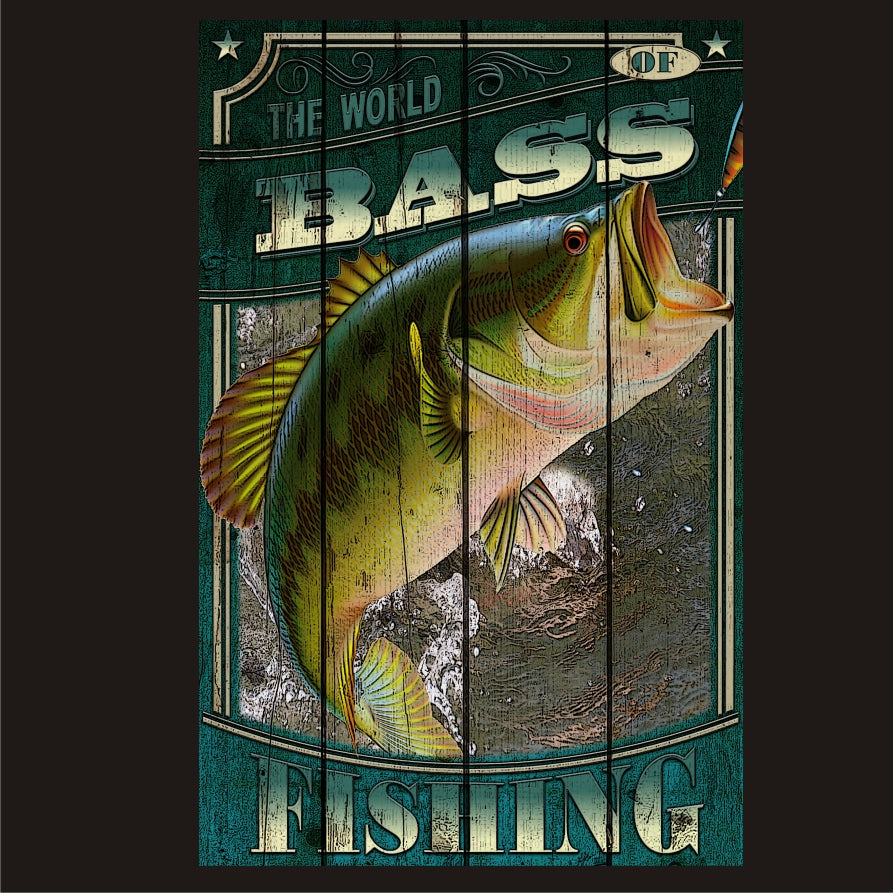 Bass Fishing - Hunting Vintage Sign