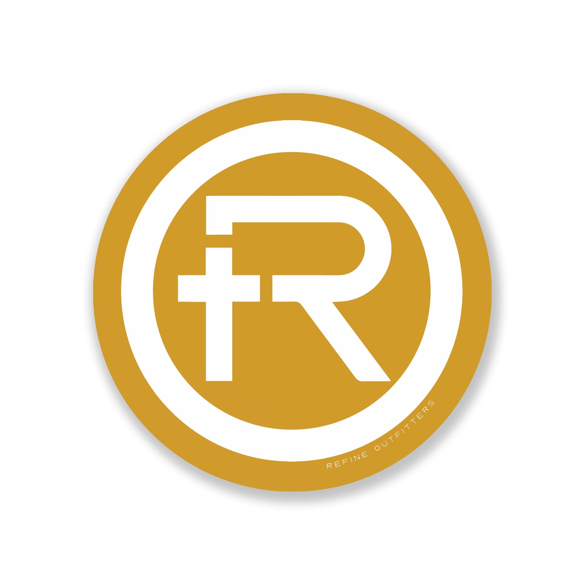 Refine outfitters r logo sticker gold