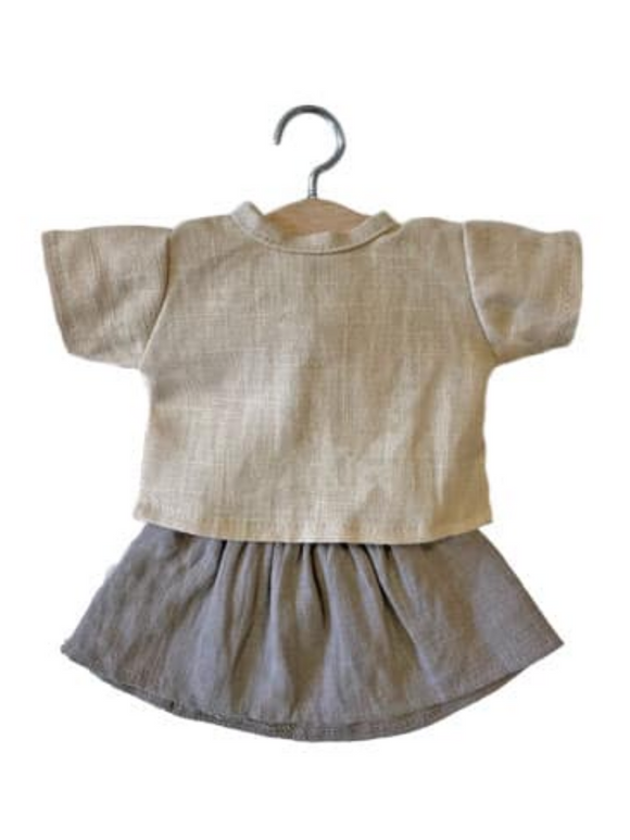 Rejane Linen Dolls Clothes Set- Taupe