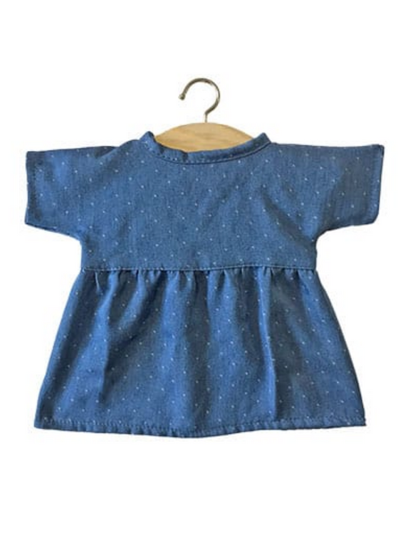 Faustine Cotton Denim Dolls Dress- Denim Dots