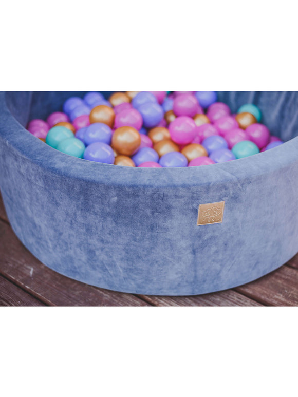 Velvet Ball Pit- Purple Mix in Grey-blue Pit