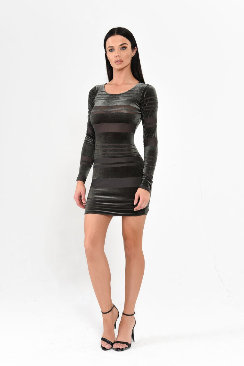 Velvet Striped Mini Dress - Olive