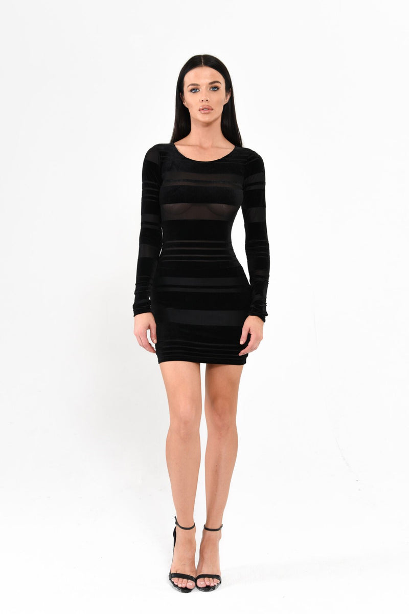 velvet-striped-mini-dress-black