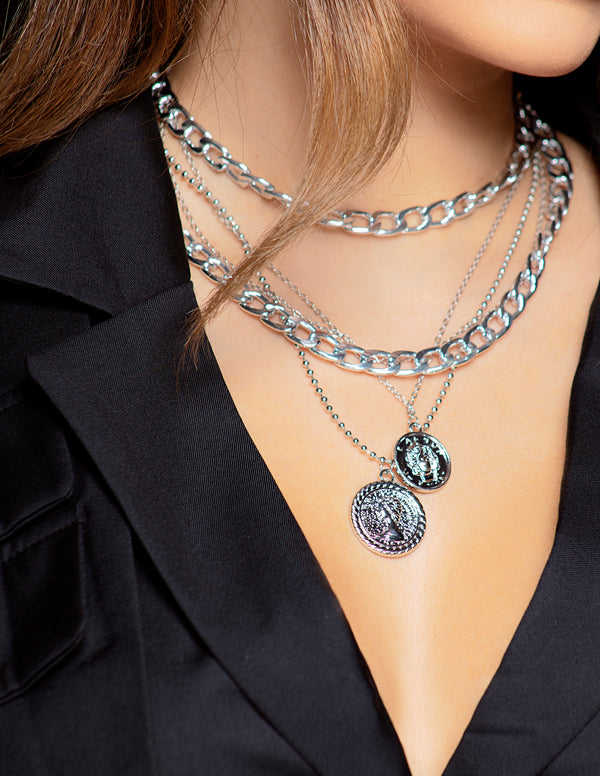 Curb Chain + Coin Necklace