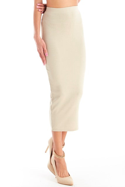 Knitted Fitted Pencil Skirt - Nude