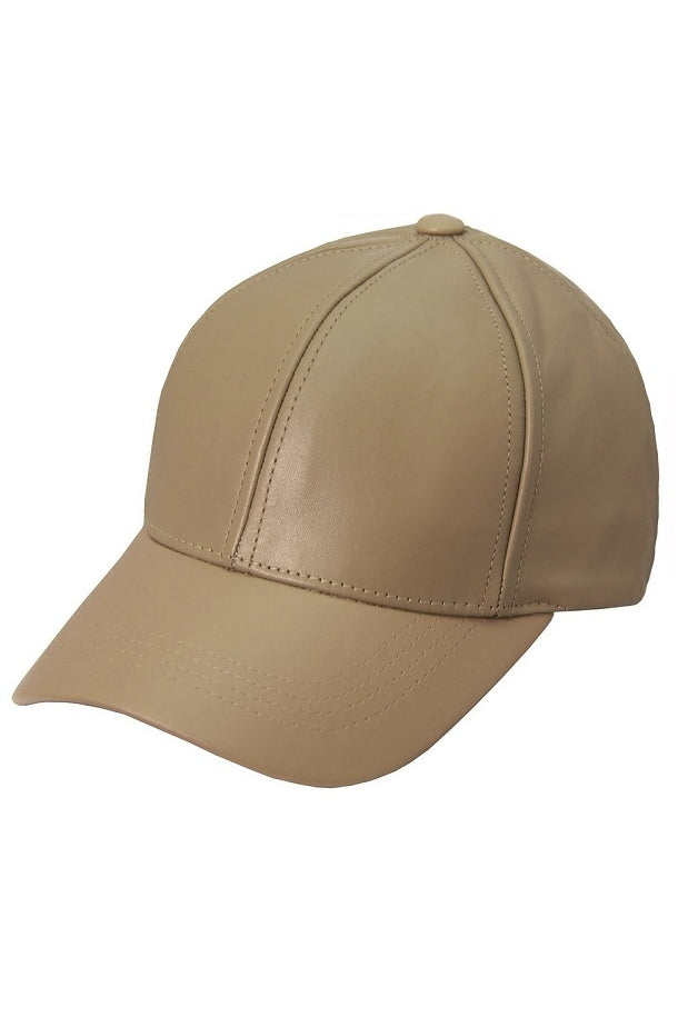 Taupe Leather Cap