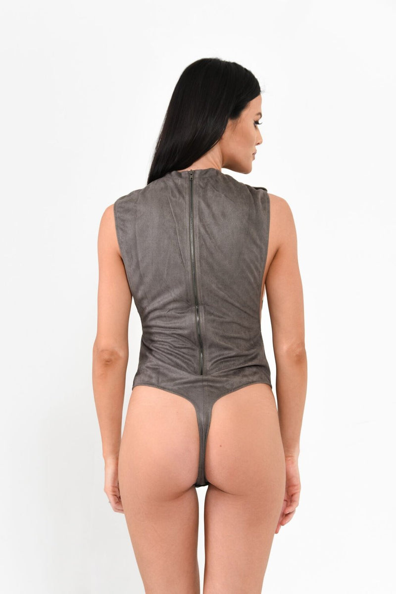 Suede Bodysuit - Grey