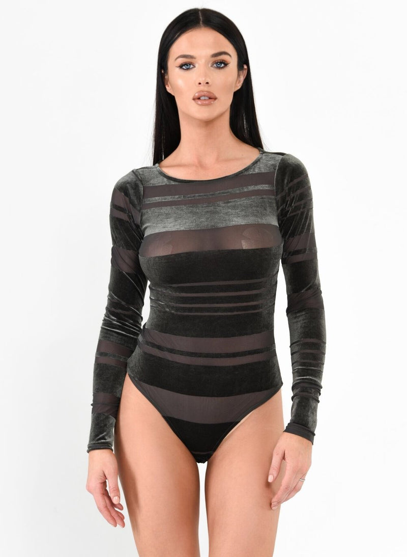 Velvet Striped Bodysuit - Olive