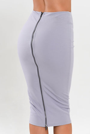 Zipper Back Skirt - Grey