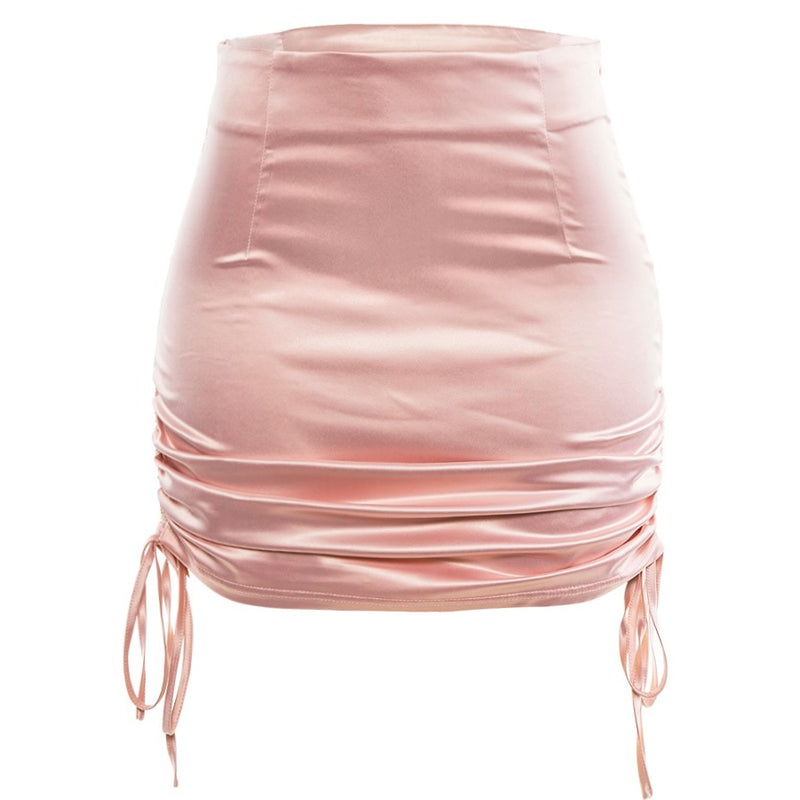 Drawstring Satin Mini Skirt