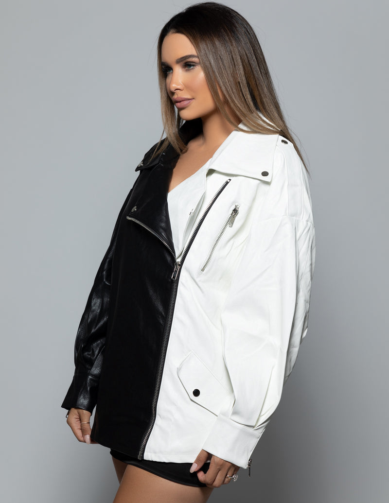Two - Tone Oversized Leather Jacket