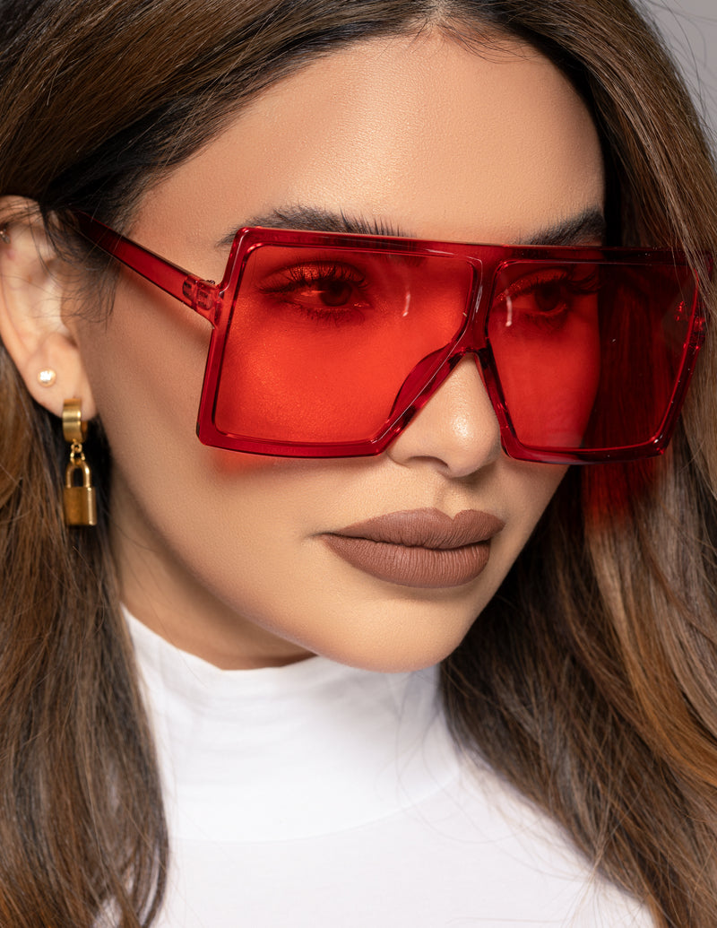Oversized Flat Square Sunglasses - Red