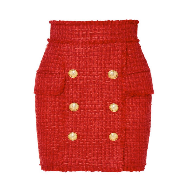 Tweed Red Skirt