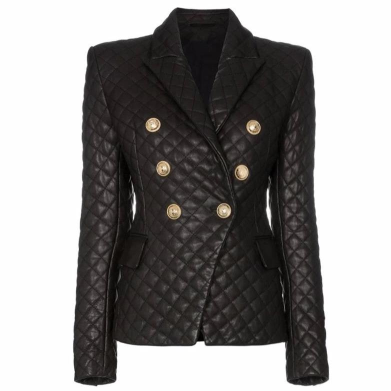 Quilted Leather Button Blazer