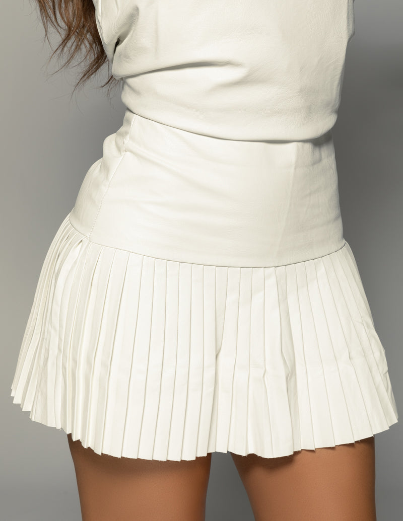 Pleated Leather Tennis Skirt