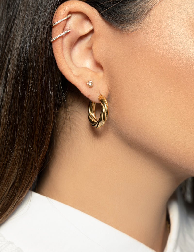 18k Gold Plated Twist Hoop Earrings