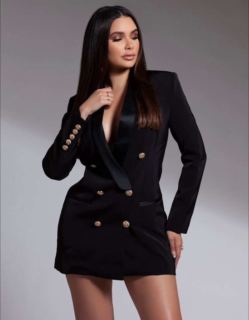 Satin Collar Blazer Dress
