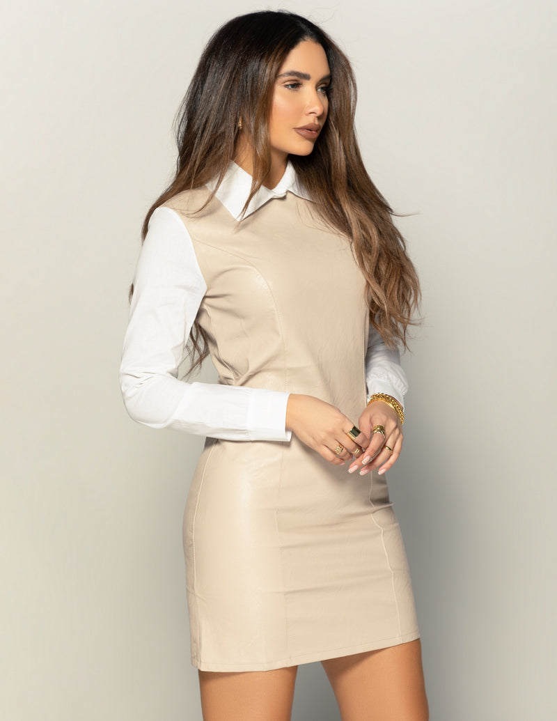 Collar Leather Dress