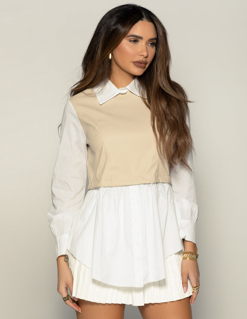 Nude Leather Button Shirt