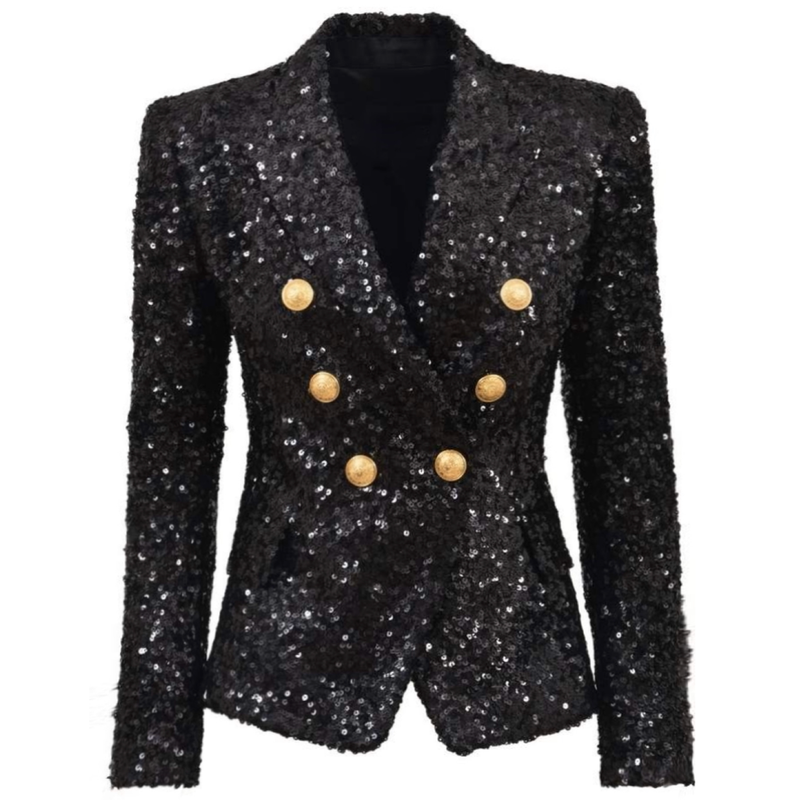 Sequin Gold Button Blazer