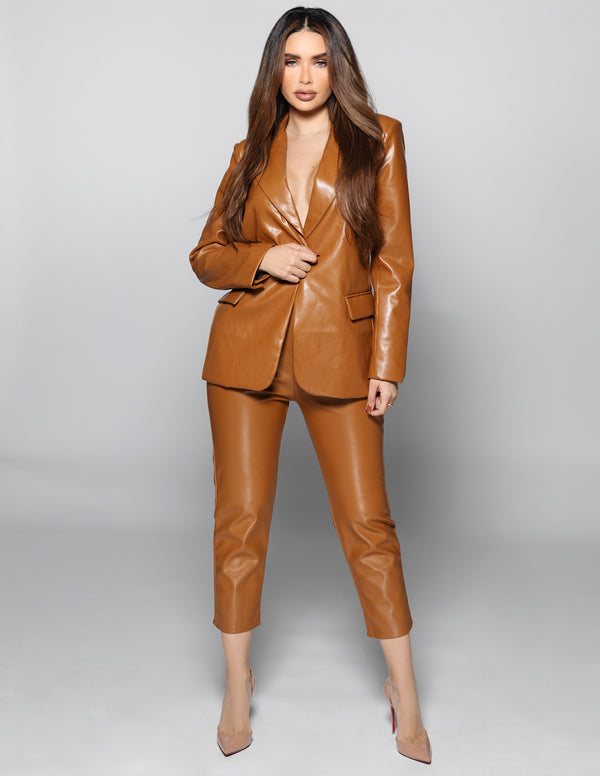 Cognac Leather Trousers