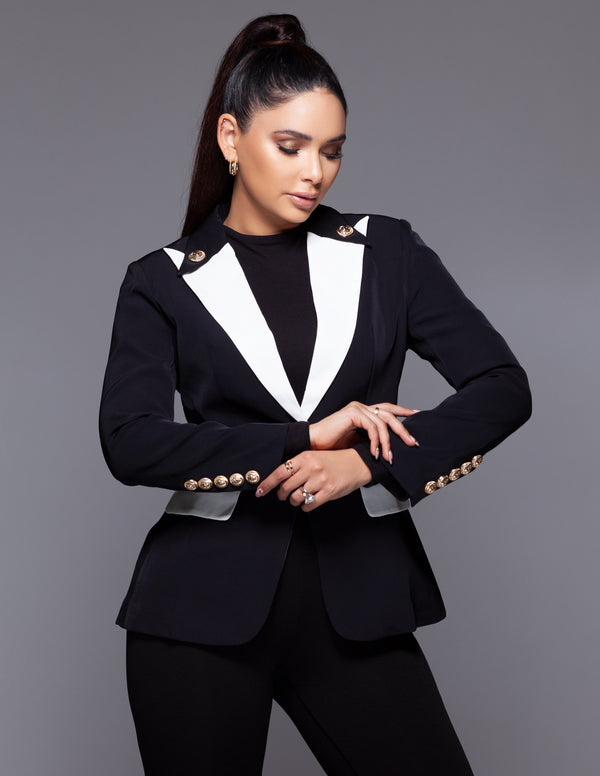 Black + White Collar Button Blazer