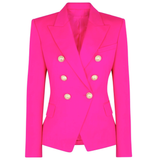 Limited Electric Pink Gold Button Blazer