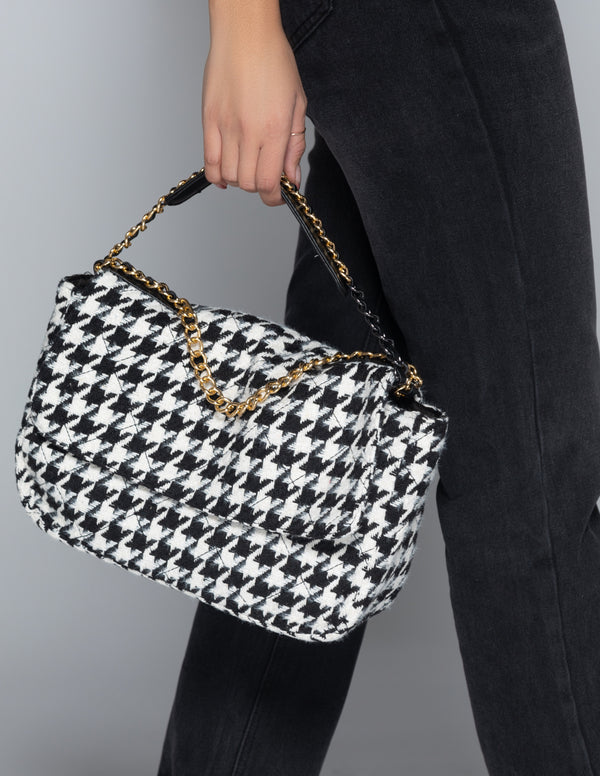 Houndstooth Flap Bag