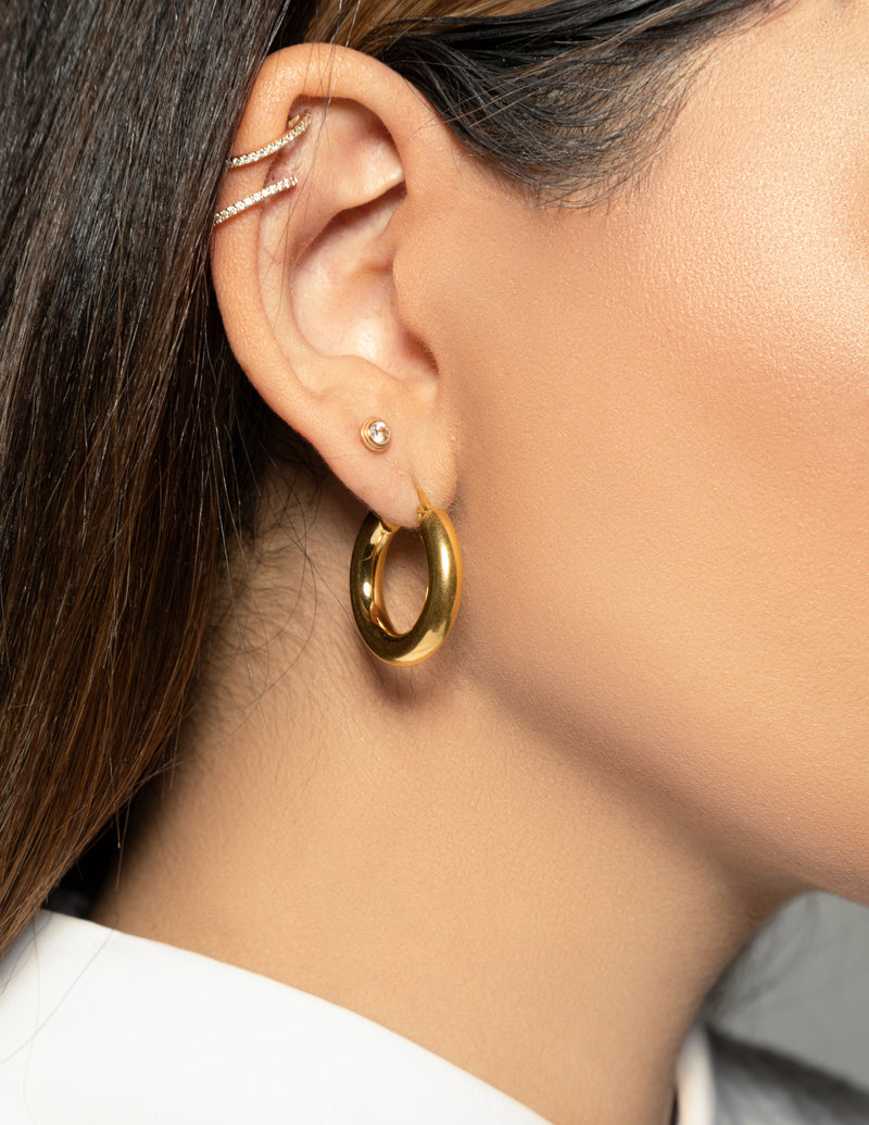 18k Gold Plated Chunky Hoop Earrings