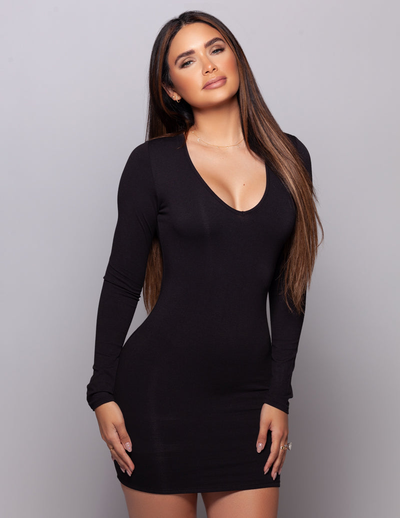 V Neck Mini Dress