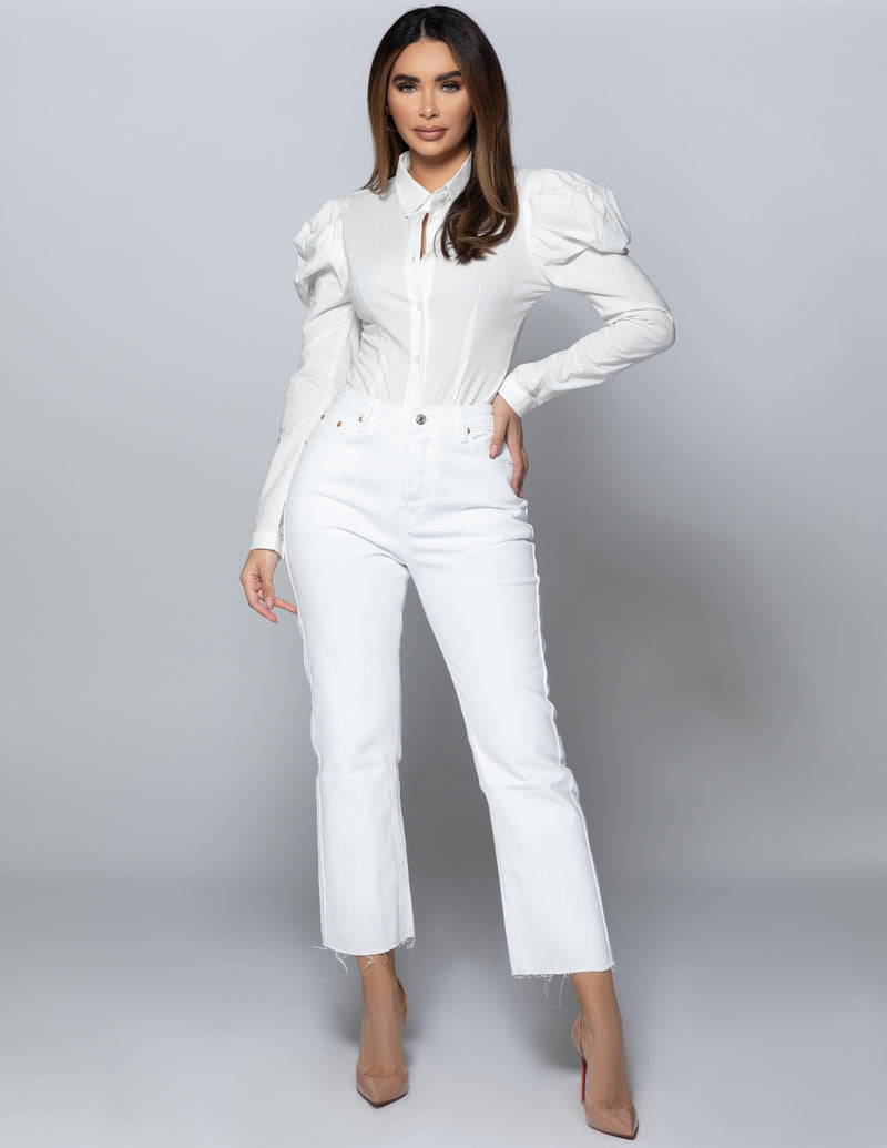 Puff Sleeve Button Bodysuit
