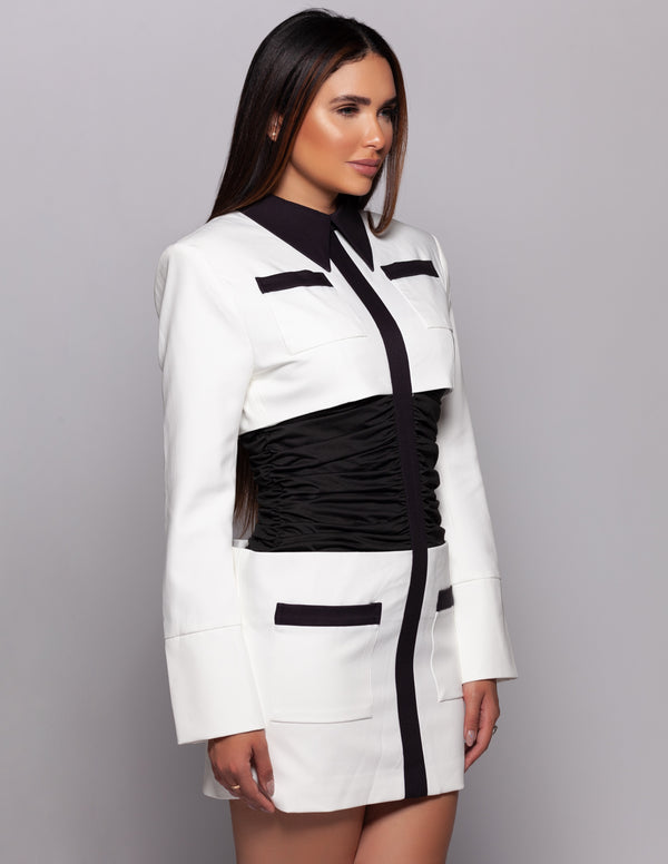 Ruched Black + White Dress