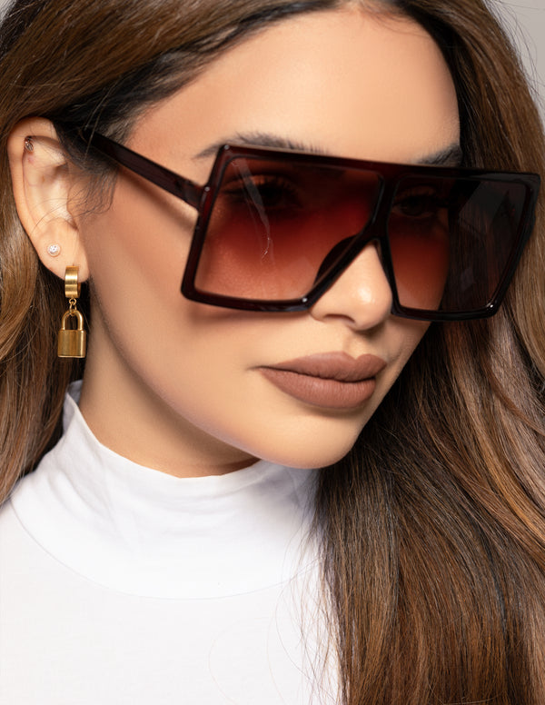 Oversized Flat Square Sunglasses - Brown