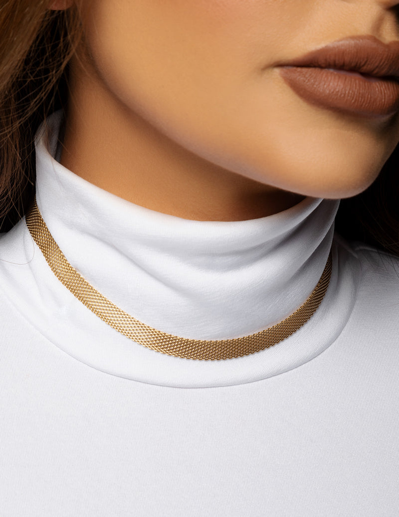 18k Gold Plated Mesh Chain Necklace