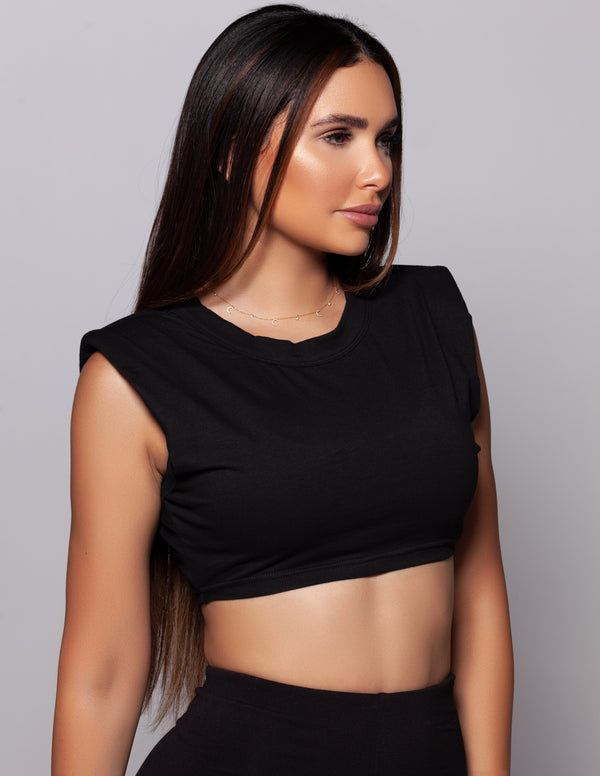 Shoulder Padded Crop Top